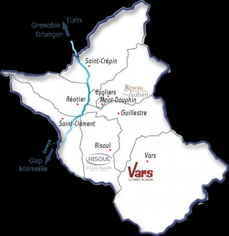 Carte des Hautes-Alpes, zoom sur la vallée de Guillestre